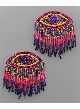 Golden Stella Evil Eye Tassel Seed Bead earrings