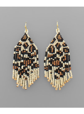 Golden Stella Leopard woven beaded earrings