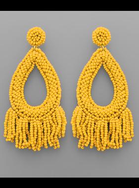 Golden Stella Seed bead fringe teardrop earrings