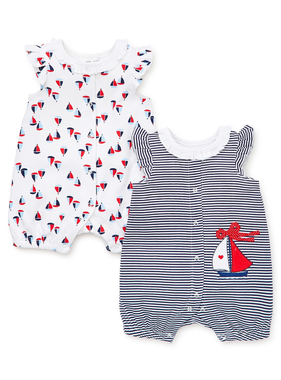 Little Me Sailboat 2 pack rompers