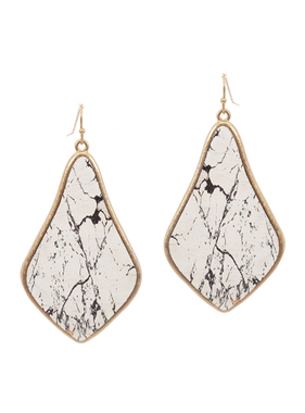 What's Hot Teardrop white marble print earring