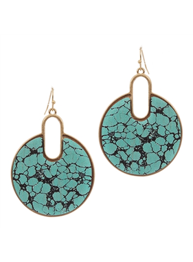 What's Hot Open circle turquoise marble print earring