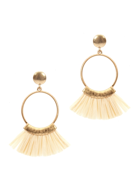What's Hot Gold hoop with ivory raffia tassel earring