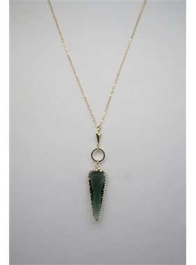 "What's Hot Grey agate arrowhead on gold 20"" necklace"