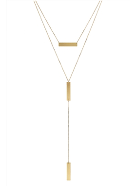 What's Hot Matte gold bar layered y drop necklace