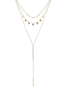 What's Hot Triple layer natural crystal , gold coin , y drop necklace
