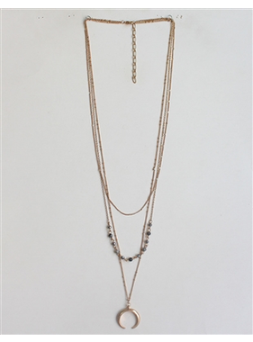 What's Hot Triple layer gold and grey crystal necklace with gold crescent