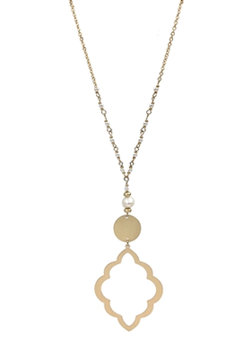 What's Hot Matte gold open filigree and pearl necklace