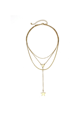 What's Hot Worn gold triple layer necklace with gold star y drop