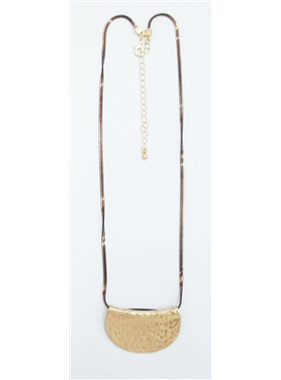 """What's Hot 22"""" brown liquid chain necklace with gold half moon"""