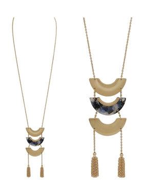What's Hot gold and grey acrylic layered necklace with tassel