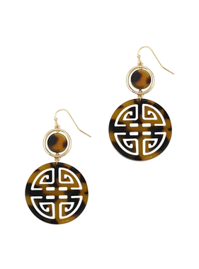 What's Hot brown acrylic and gold filigree circle drop earring