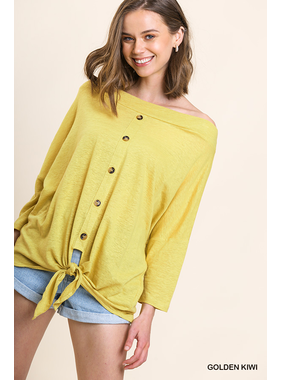 Umgee Long sleeve knit off the shoulder button front top