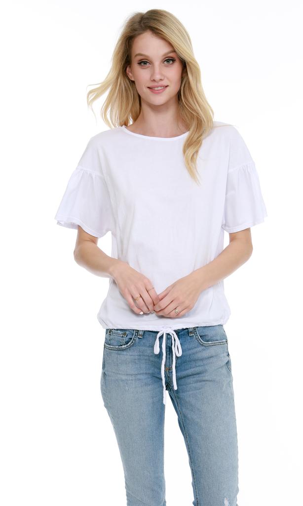 Bobi Ruffle sleeve top with drawstring waist by Bobi wo
