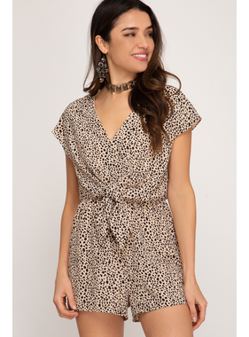 She + Sky Drop shoulder printed woven romper with waist tie detail