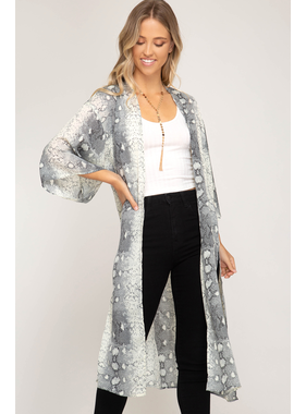 She + Sky Half sleeve snake skin printed woven cover up