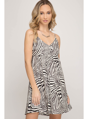 She + Sky Cami woven print dress with back tie detail