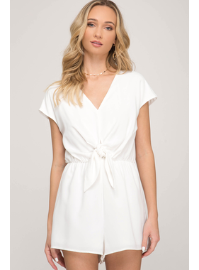 She + Sky Drop shoulder woven romper with front tie detail