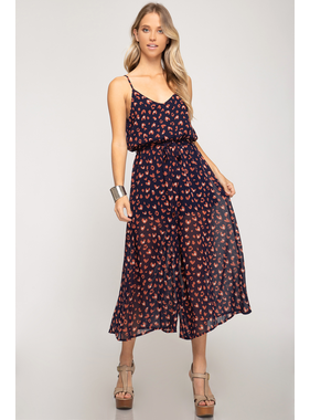 She + Sky Woven print cami culotte jumpsuit with waist sash