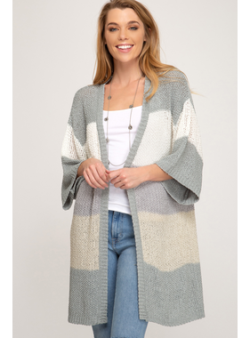 She + Sky Half sleeve multi striped open front sweater cardigan