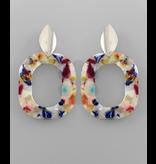 Golden Stella Acrylic cutout oval earrings