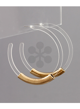 Golden Stella Bar accent acrylic hoop earrings