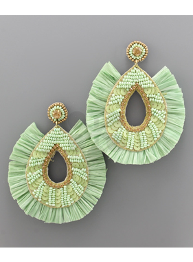 Golden Stella Beaded teardrop fan raffia earrings