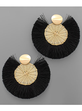 Golden Stella Rattan disc tassel earrings