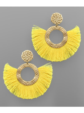 Golden Stella Circle tassel earrings