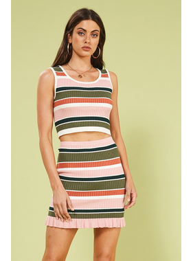House Of Quirky Open air stripe crop top