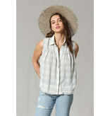 By Together Sleeveless Buffalo Print Collared Top