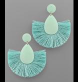 Golden Stella Glitter teardrop fan tassel earring