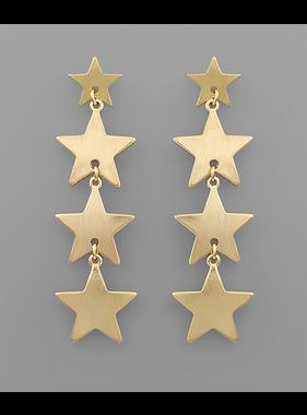 Golden Stella Star linear earrings