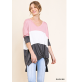 Umgee 3/4 sleeve colorblock v-neck tunic with high low hem with side slits and front side knot