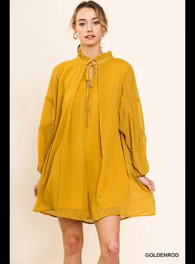 Umgee Sheer polka dot fabric long sleeve keyhole dress