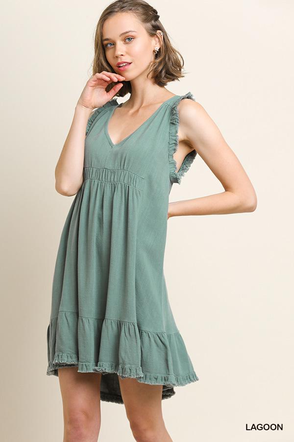 Umgee Frayed sleeveless linen blend v-neck dress