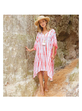 Mud Pie Faye Caftan in pink tie dye