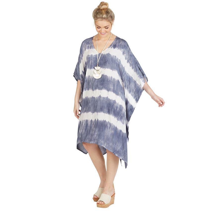 Mud Pie Faye caftan stonewash tie dye kimono