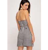 She + Sky Gingham stretch woven dress with front bow detail
