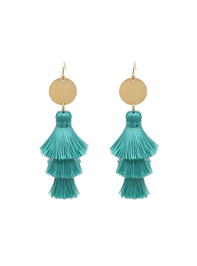 What's Hot Teal multi layered fabric tassel earring