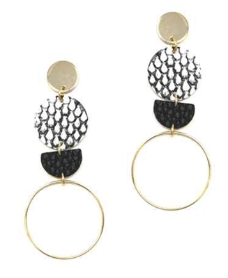 "What's Hot Snake print, leather and gold hoop 3"" stud earring"