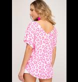 She + Sky Drop Shoulder leopard print slub knit top