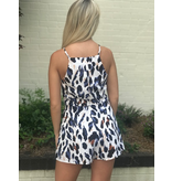 She + Sky Printed woven cami romper with front tie detail