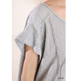 Umgee Wide Neck Tunic Top With Hi-Lo Hemline and Raw Edges