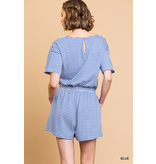Umgee Striped short sleeve v-neck short romper with pockets and elastic waist with drawstring