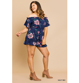 Umgee Floral print off shoulder short ruffle sleeve short romper with waist tie and ruffle hem
