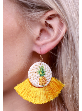 Caroline Hill Tanner straw pineapple tassel earring