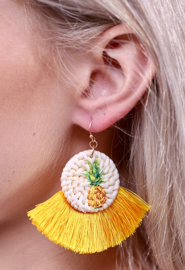 Caroline Hill Tanner straw pineapple tassel earring