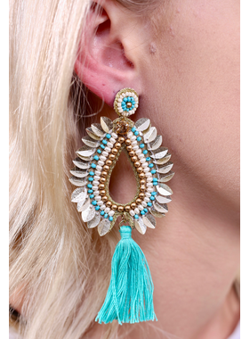 Caroline Hill Talia embellished teardrop post earring
