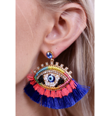 Caroline Hill Eliza embellished fringe evil eye post earring